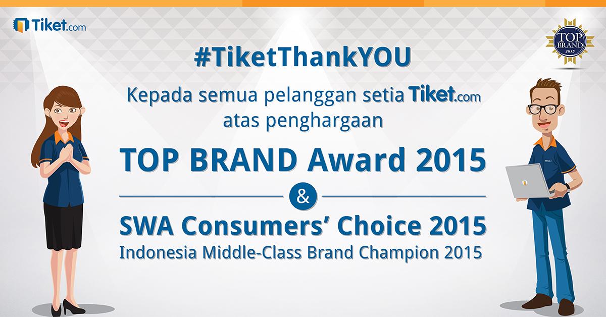 Tiket.com Menerima Top Brand Award dan Consumers' Choice 2015