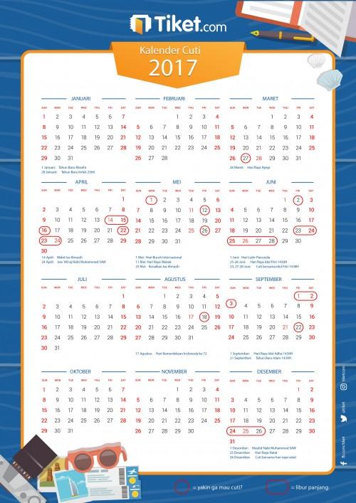 Kalender 2017, Kalender Cuti 2017,