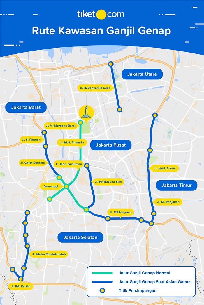 Peraturan Ganjil Genap Jakarta 2018 - Peta Rute Ganjil Genap Jakarta