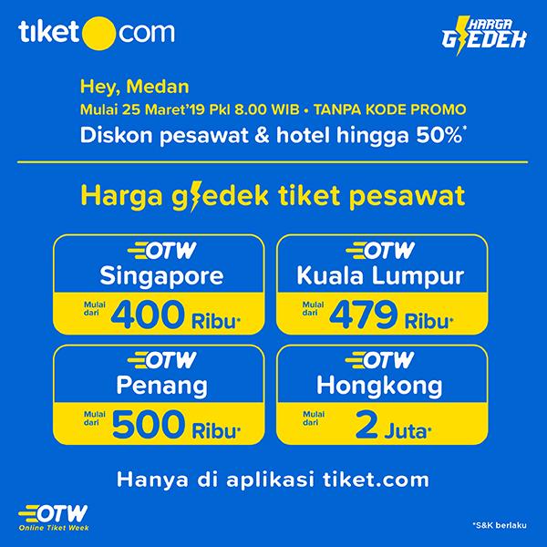 Promo Online Tiket Week - Harga Gledek Pesawat dari Medan